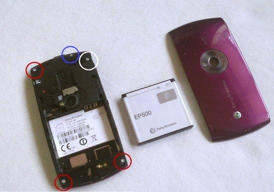 Как разобрать телефон Sony Ericsson Vivaz U5i (2)